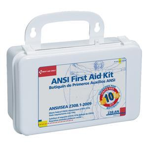 10 Unit, 64 Piece Unitized First Aid Kit w/Gasket/Plastic