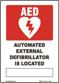 AED Is Located-Flat AED Sign In White