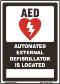 This Building Is Equipped With An AED-Flat Sign In Black/AED Is Located-Flat AED Sign