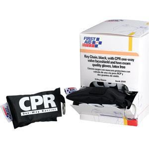 CPR Face Shield w/ Latex Free 1-Wat Valve on Keychain