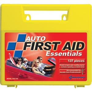138 Piece Auto First Aid Kit, Plastic