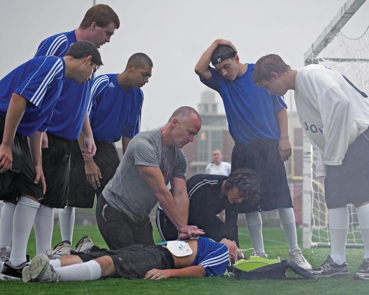 CPR on soccer field