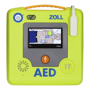 Front of ZOLL AED 3 with screen showing CPR & AED instructions