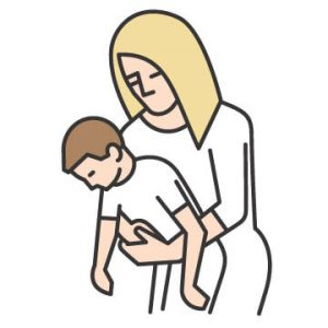 clipart of a woman helping a choking child